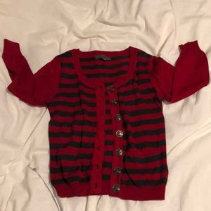 Button up stripped cardigan